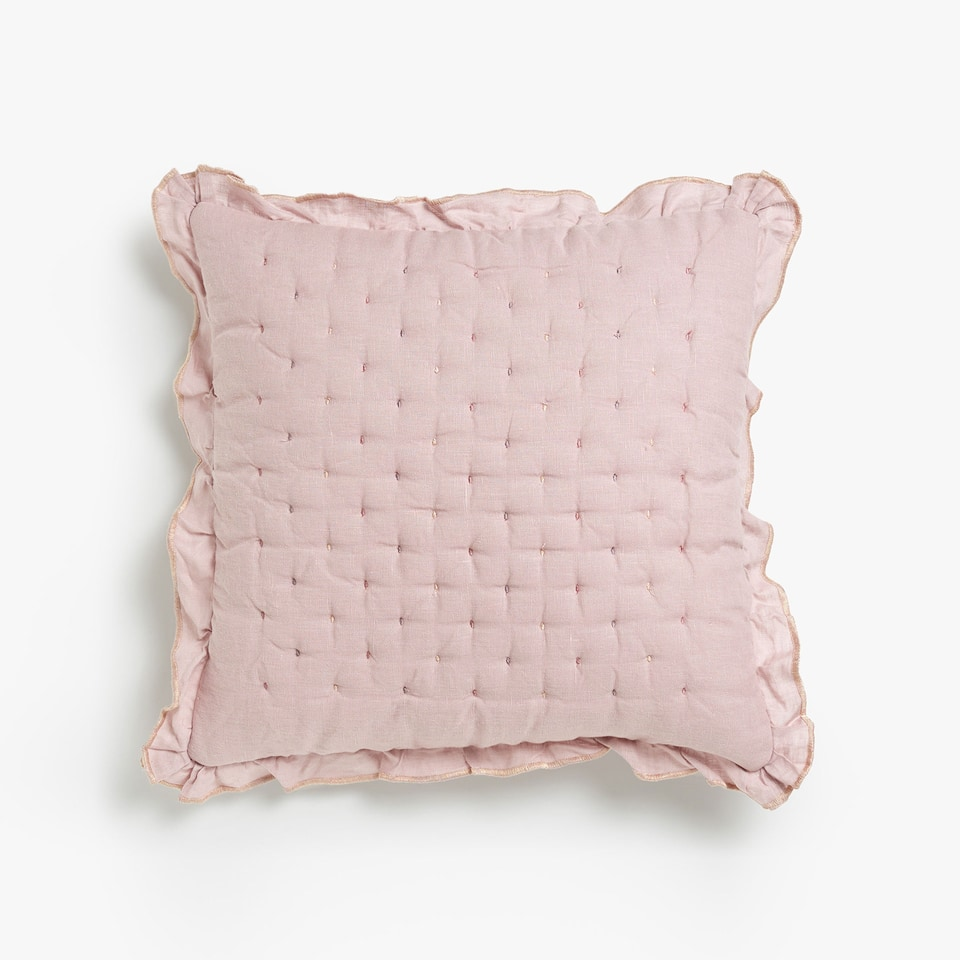 MULTICOLOURED EMBROIDERED LINEN CUSHION COVER WITH DOUBLE FRILL