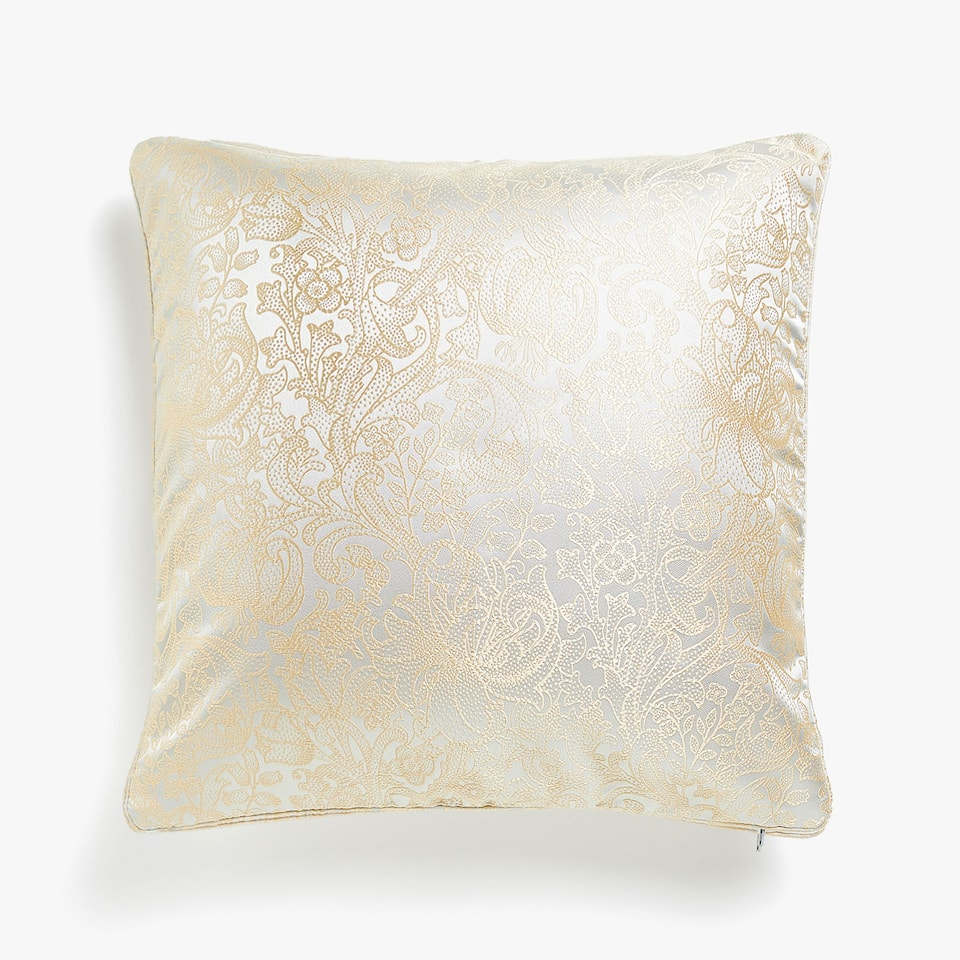 JACQUARD CUSHION COVER WITH POLKA DOT AND FLORAL MOTIF