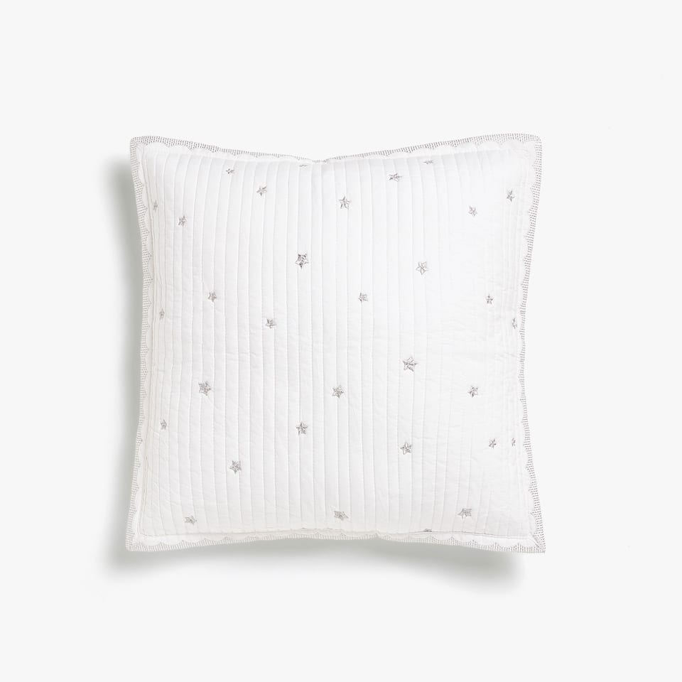 COTTON CUSHION COVER WITH METALLIC EMBROIDERY AND EDGE DETAIL