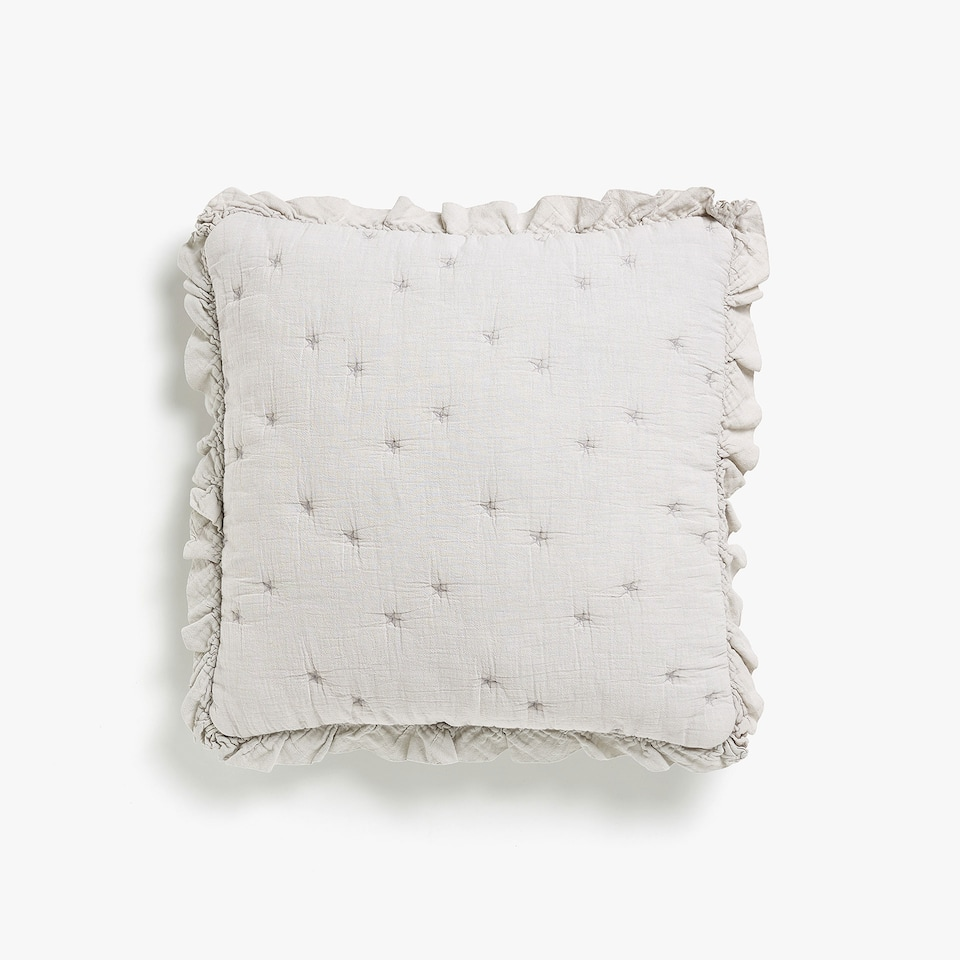 FADED COTTON CUSHION COVER WITH FRILL