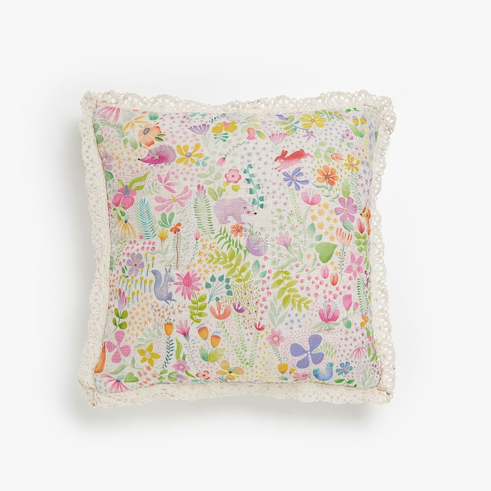 MULTICOLOURED PRINT CUSHION COVER WITH LACE TRIM