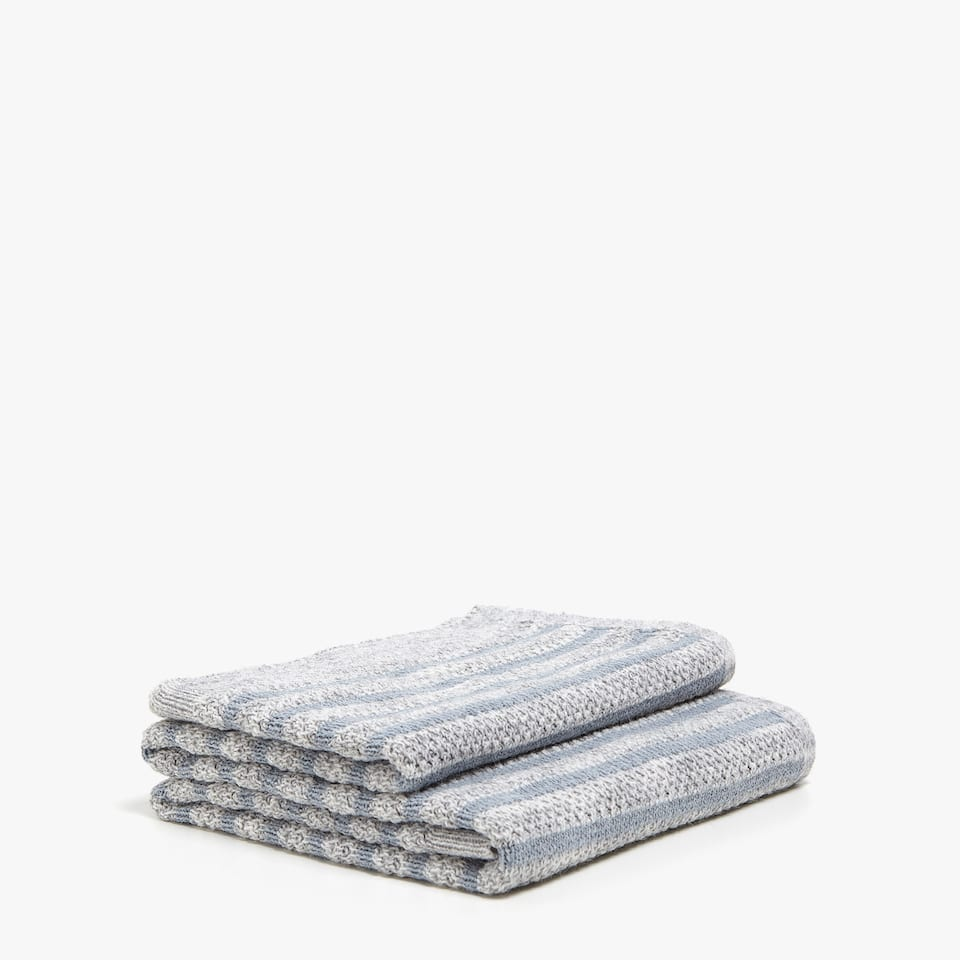 TWO-TONE STRIPED KNIT BLANKET