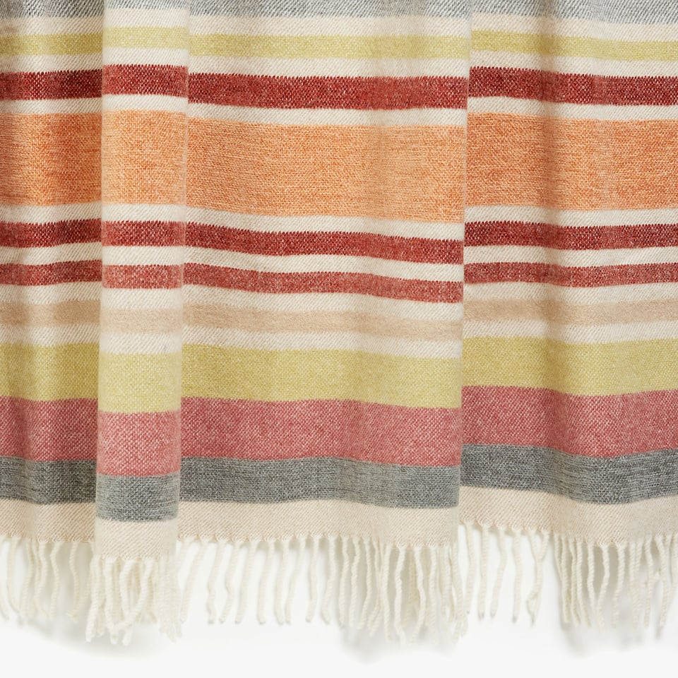 MULTICOLOURED STRIPED CHENILLE WOOL BLANKET