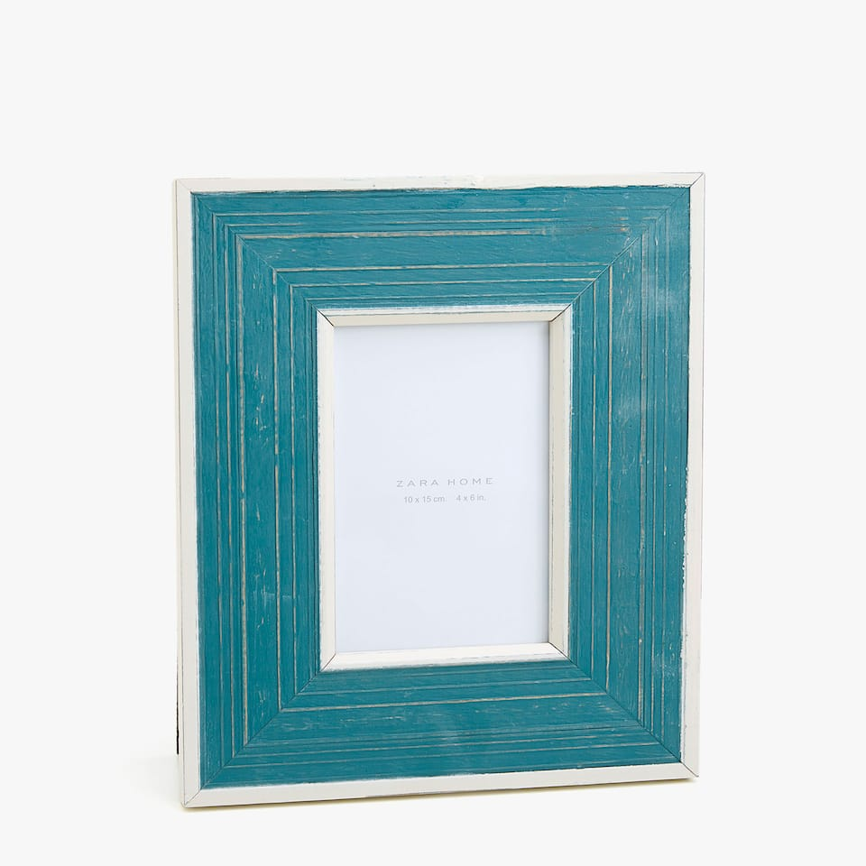 WOODEN FRAME WITH WHITE BORDER