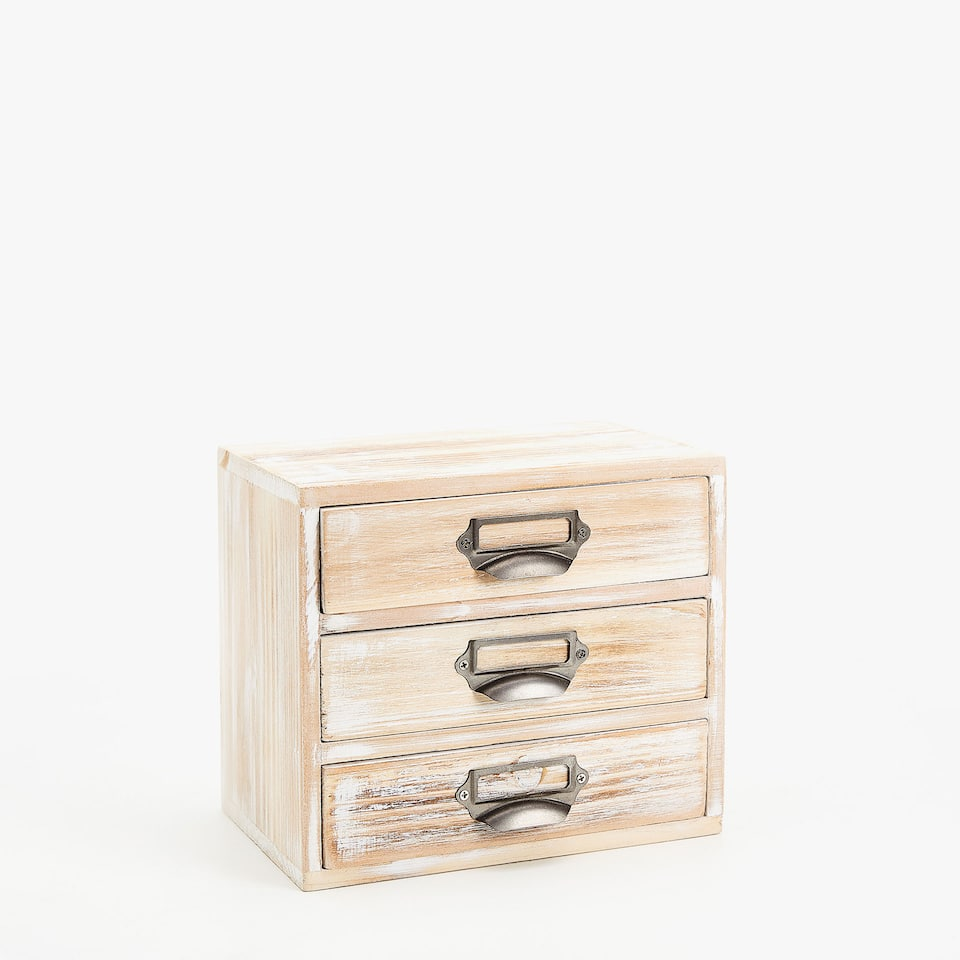 WOODEN BOX WITH DRAWERS