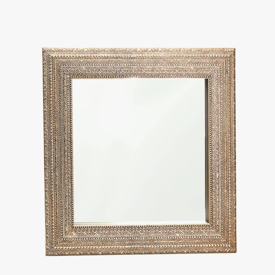 SQUARE MIRROR WITH EMBOSSED DESIGN
