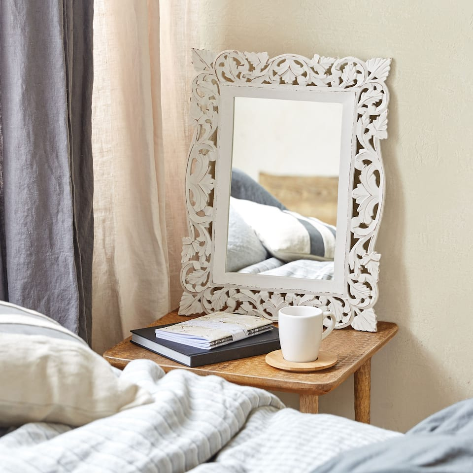 MIRROR WITH DIE-CUT WOODEN FRAME