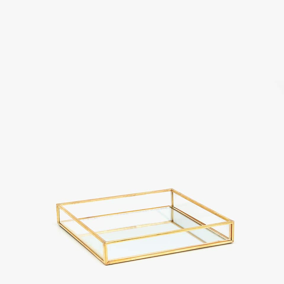 DECORATIVE TRAY WITH GOLD BORDER AND MIRROR BASE