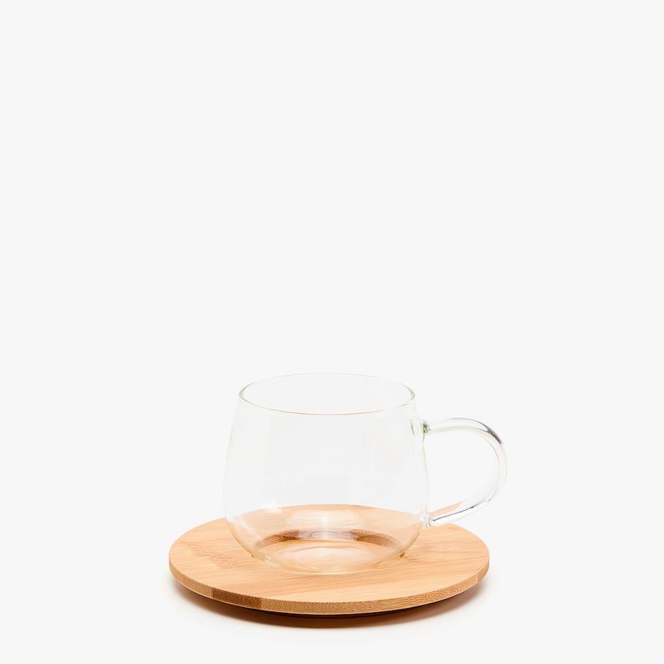 Borosilicate teacup and bamboo saucer