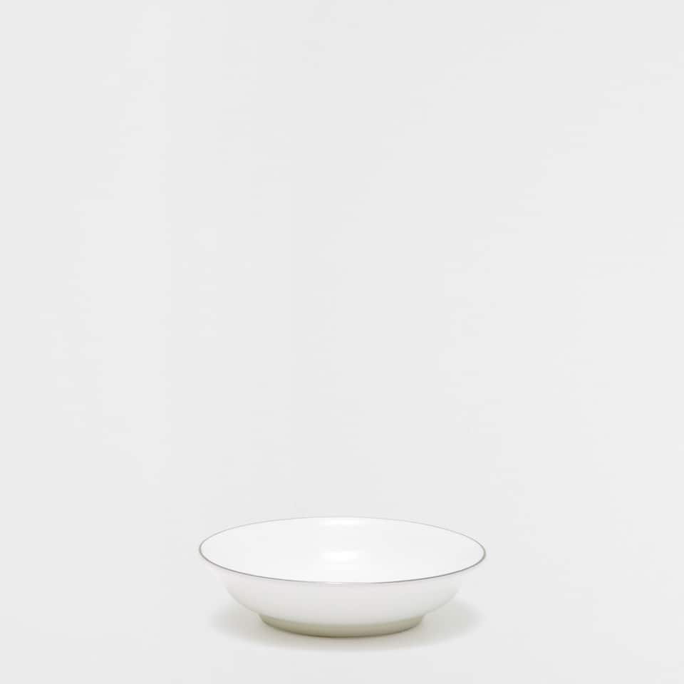 Mini bone china bowl with silver rim