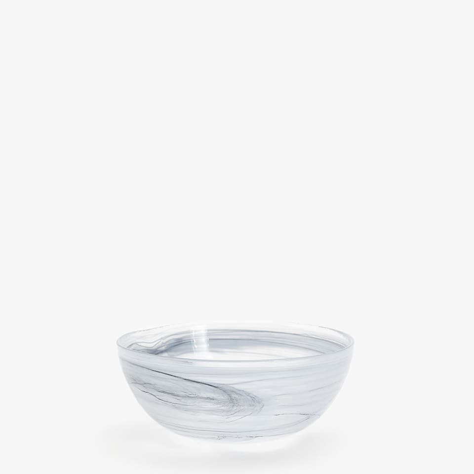 GLASS BOWL WITH MARBLE-EFFECT FINISH