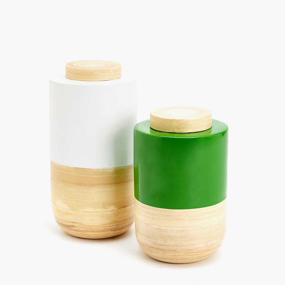 DECORATIVE LACQUERED BAMBOO JAR