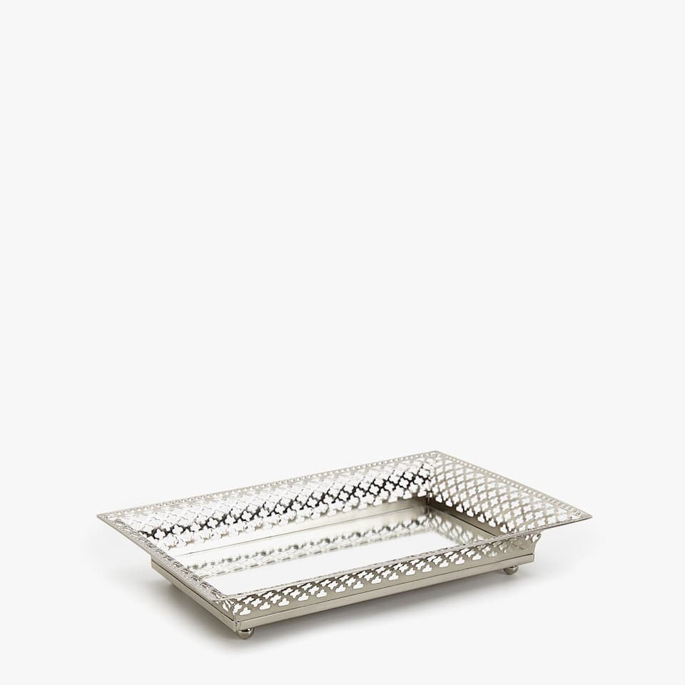 DIE-CUT METAL DECORATIVE TRAY WITH MIRRORED BASE
