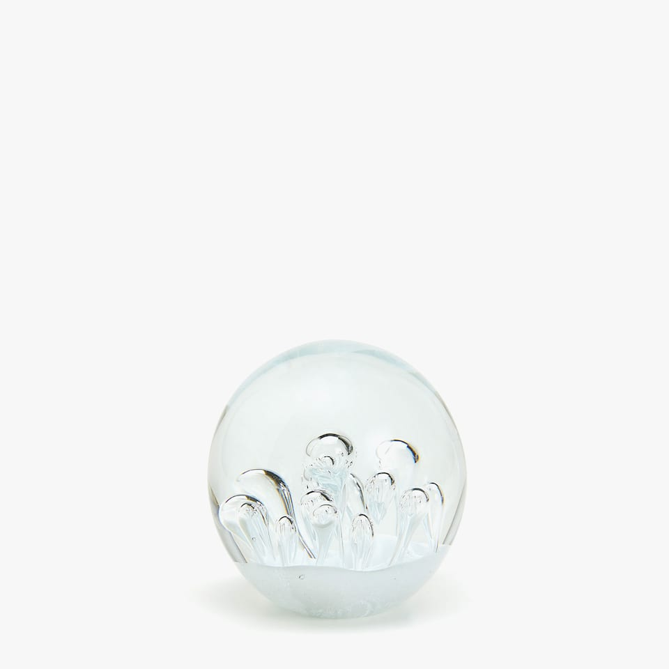 ROUND GLASS DECORATIVE FIGURE WITH BUBBLES