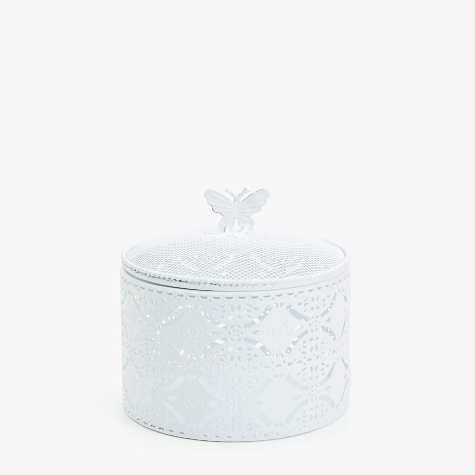 WHITE TRELLIS METAL BOX WITH BUTTERFLY DETAIL
