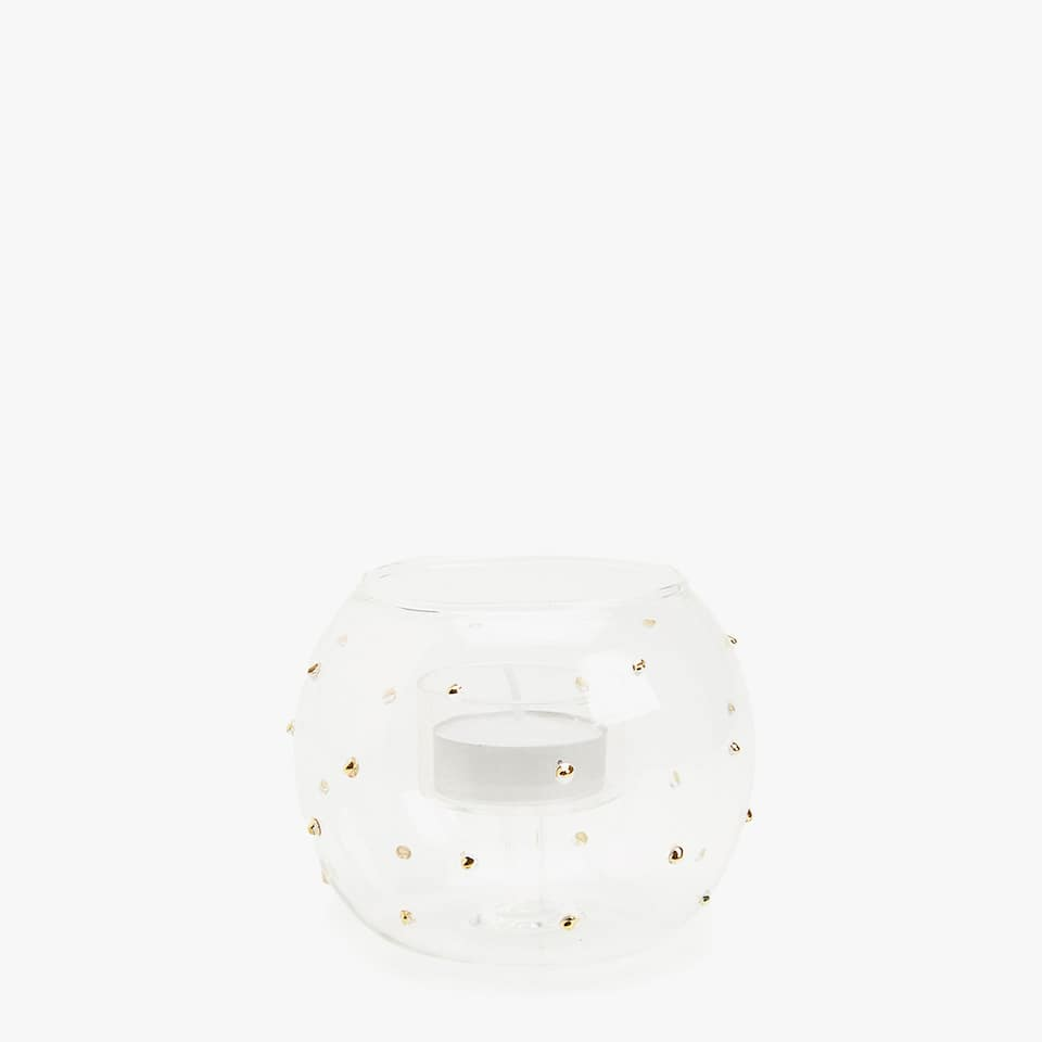 Clear tealight holder with gold details