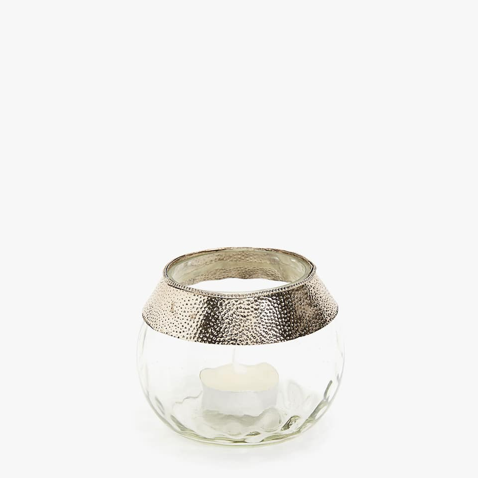 Tealight holder with metallic detail