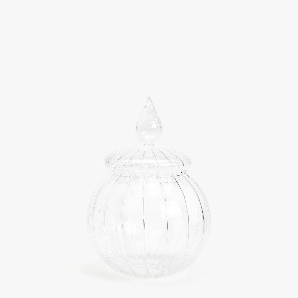 Clear scalloped jar