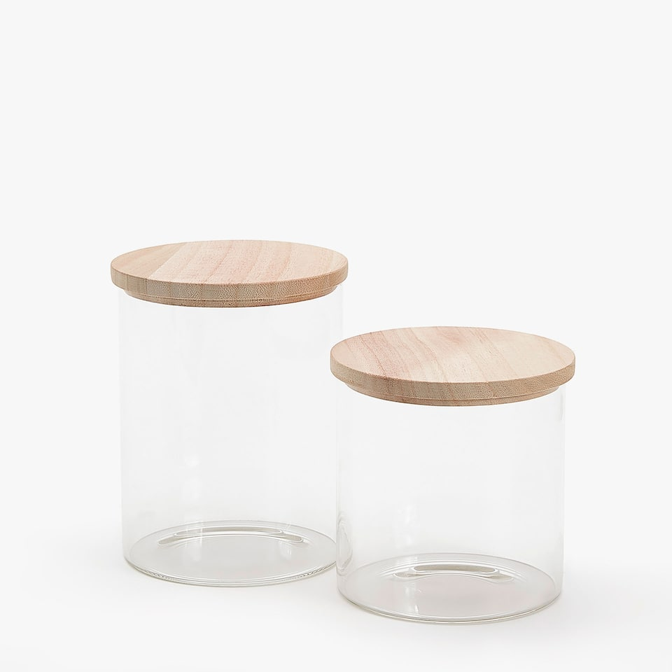 Jar with wooden lid