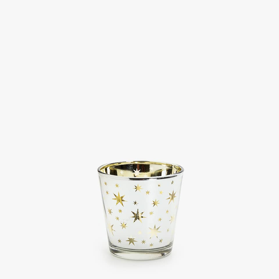 Tealight holder with gold and silver transfer
