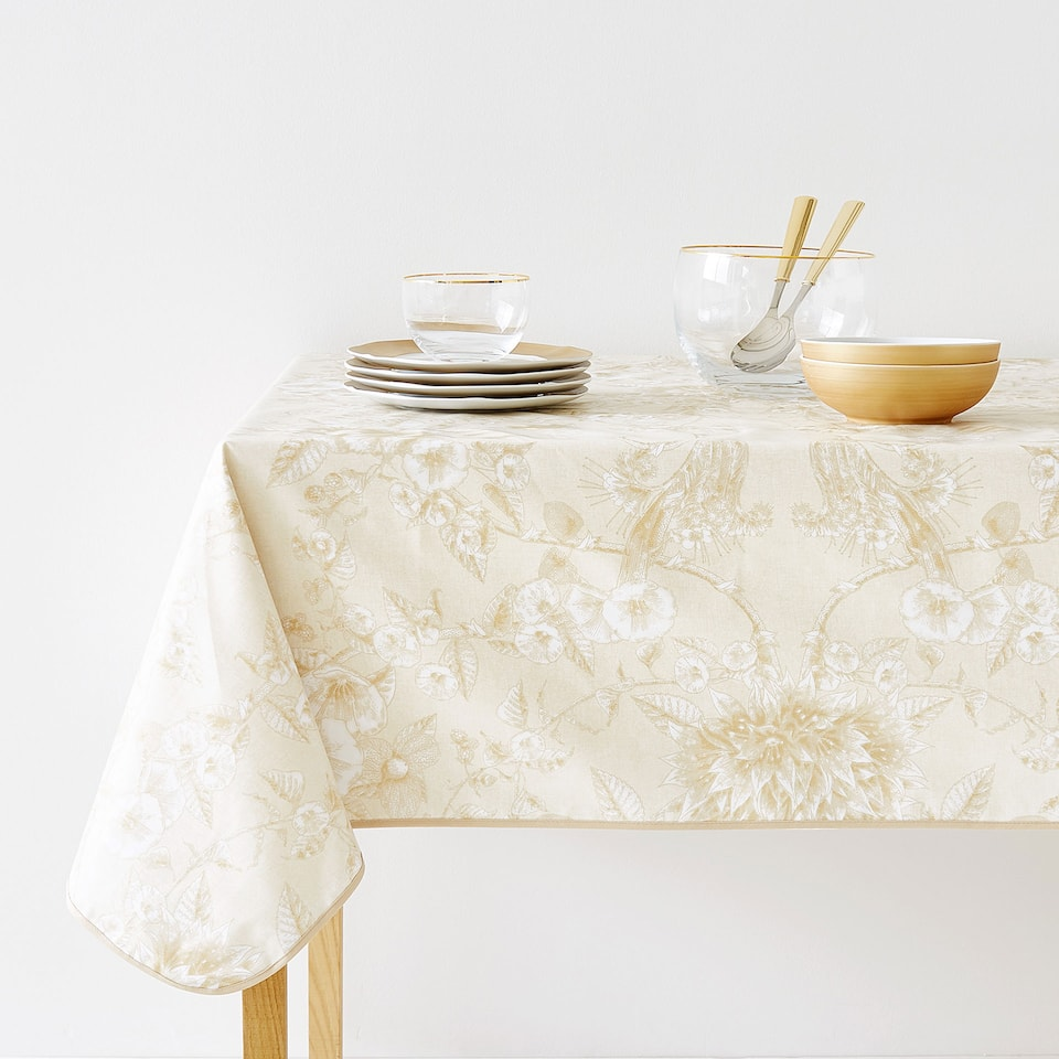 WATER RESISTANT LEAF PRINT COTTON TABLECLOTH