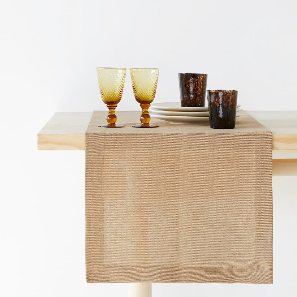 TAN LINEN AND COTTON TABLE RUNNER