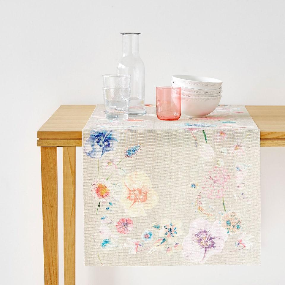 WATER-RESISTANT POPPY PRINT TABLE RUNNER