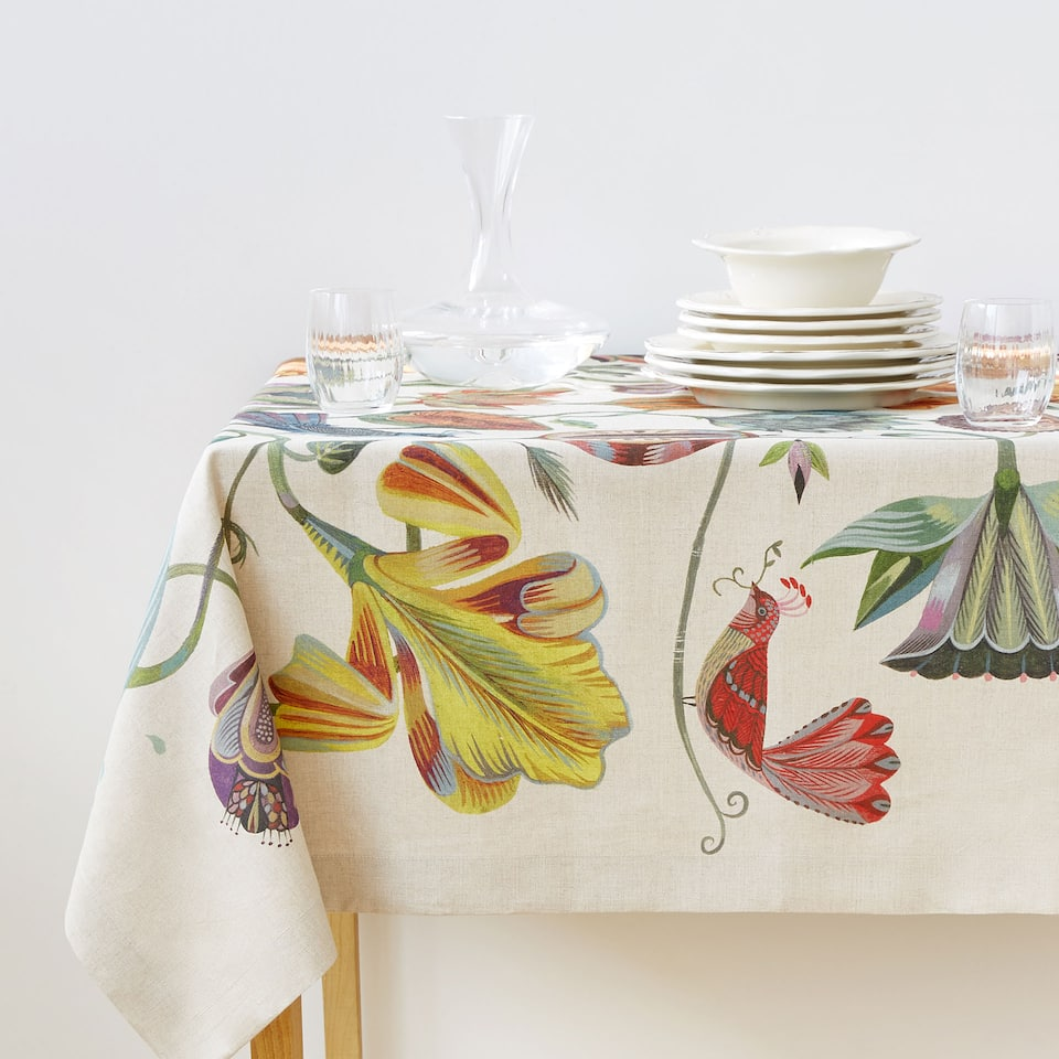 TROPICAL BIRD AND FLORAL PRINT LINEN TABLECLOTH