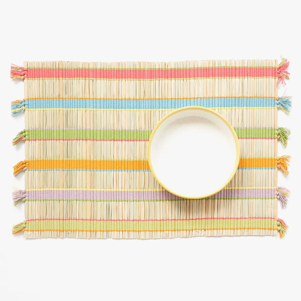 STRAW PLACEMAT WITH MULTICOLOURED RIBBONS (SET OF 2)
