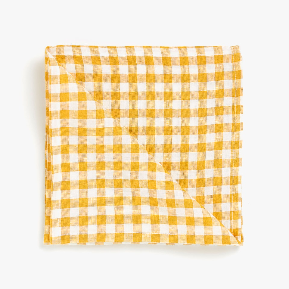 CHECKED FADED LINEN NAPKINS (SET OF 4)