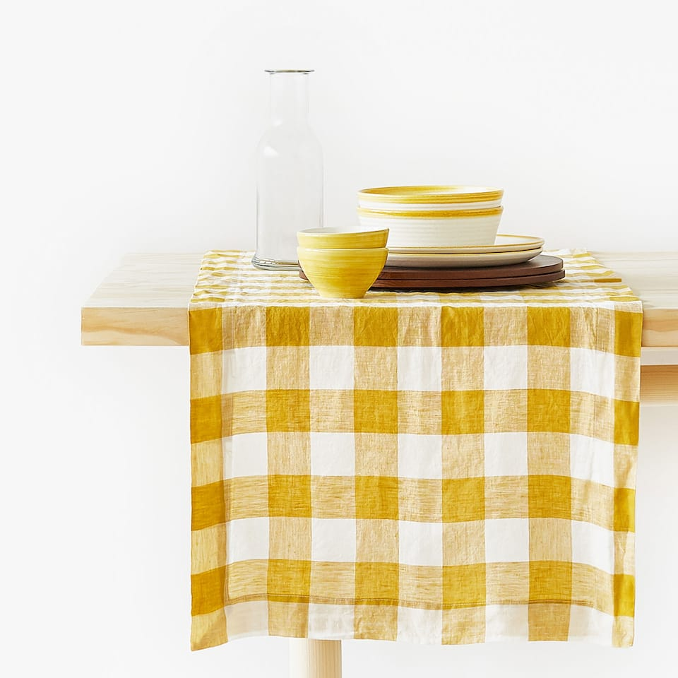 CHECKED FADED LINEN MUSTARD YELLOW TABLE RUNNER