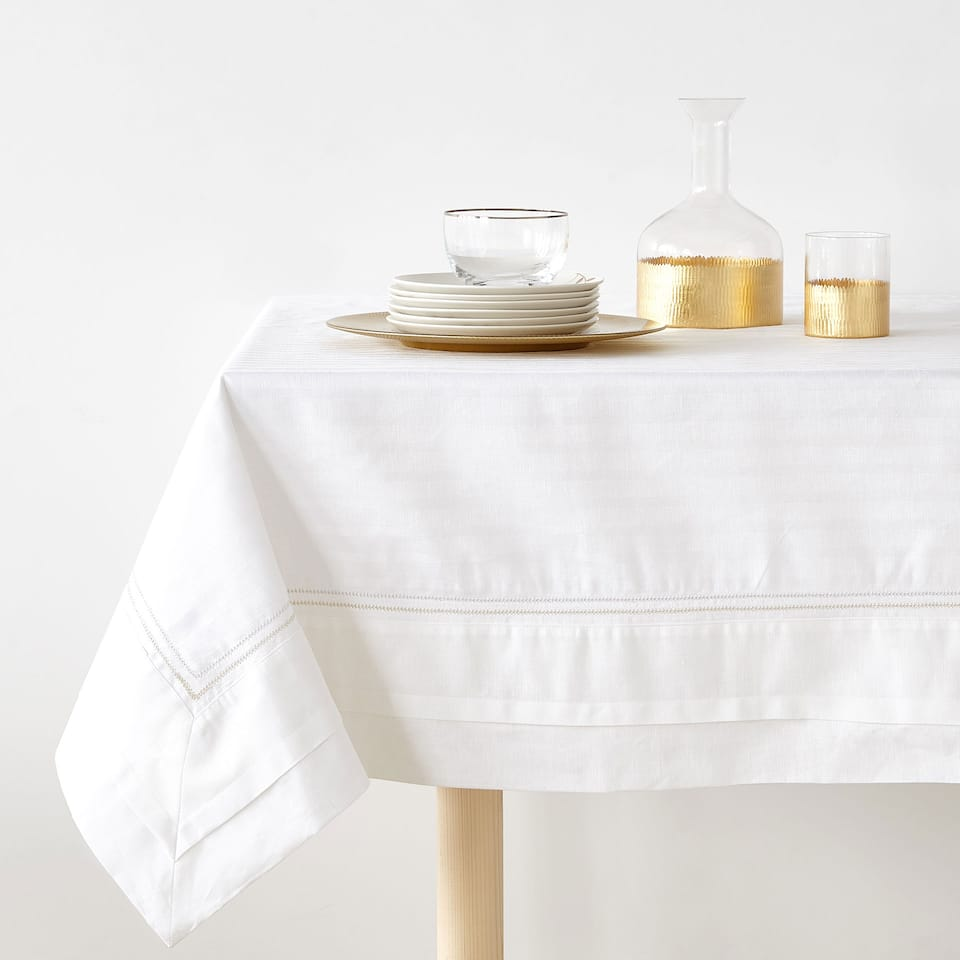 tablecloth. mini herringbone tablecloth with embroidered detail tablecloth
