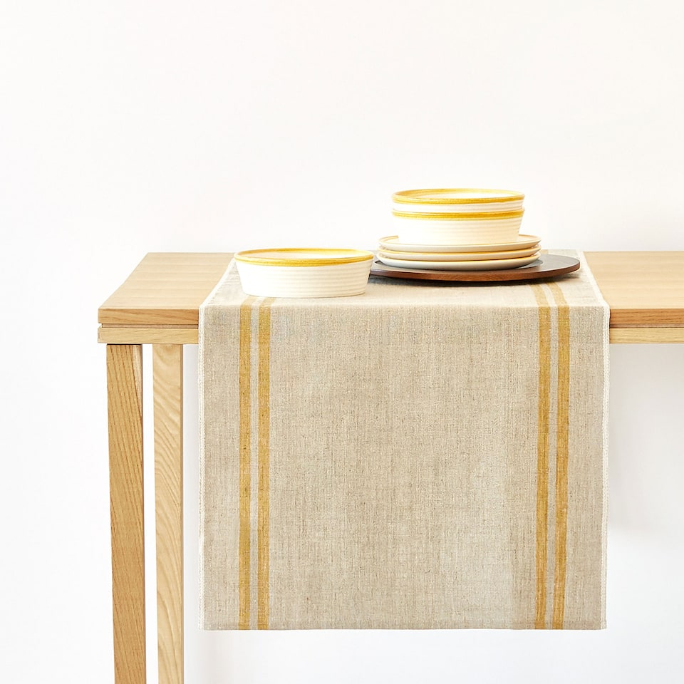 LINEN TABLE RUNNER WITH STRIPES