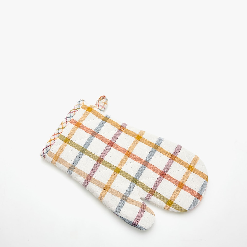 MULTICOLOURED CHECKED OVEN GLOVE