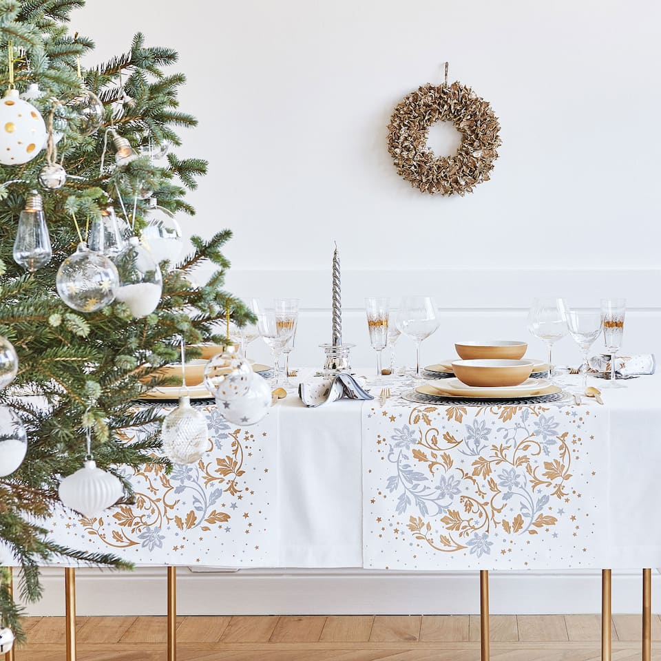 Gold and silver leaf table runner