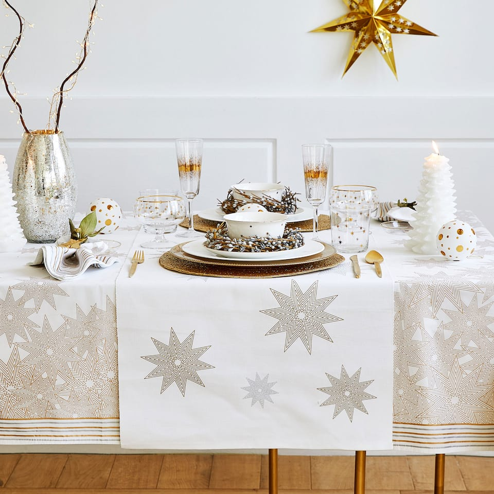 Gold and silver stars table runner