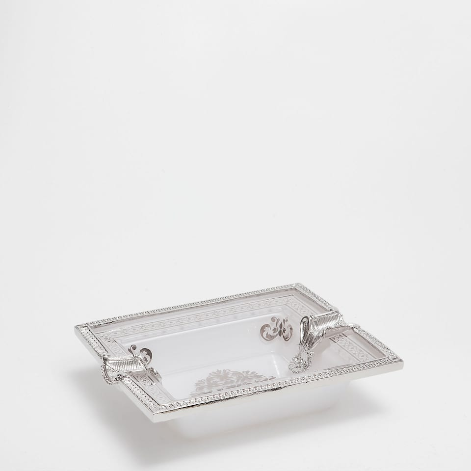 ASHTRAY WITH SILVER EDGES AND TRANSFER
