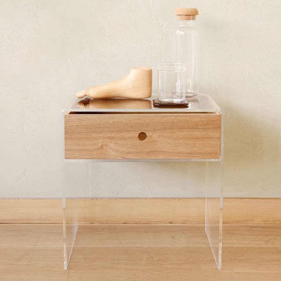 METHACRYLATE TABLE WITH CONTRASTING WOODEN DRAWER