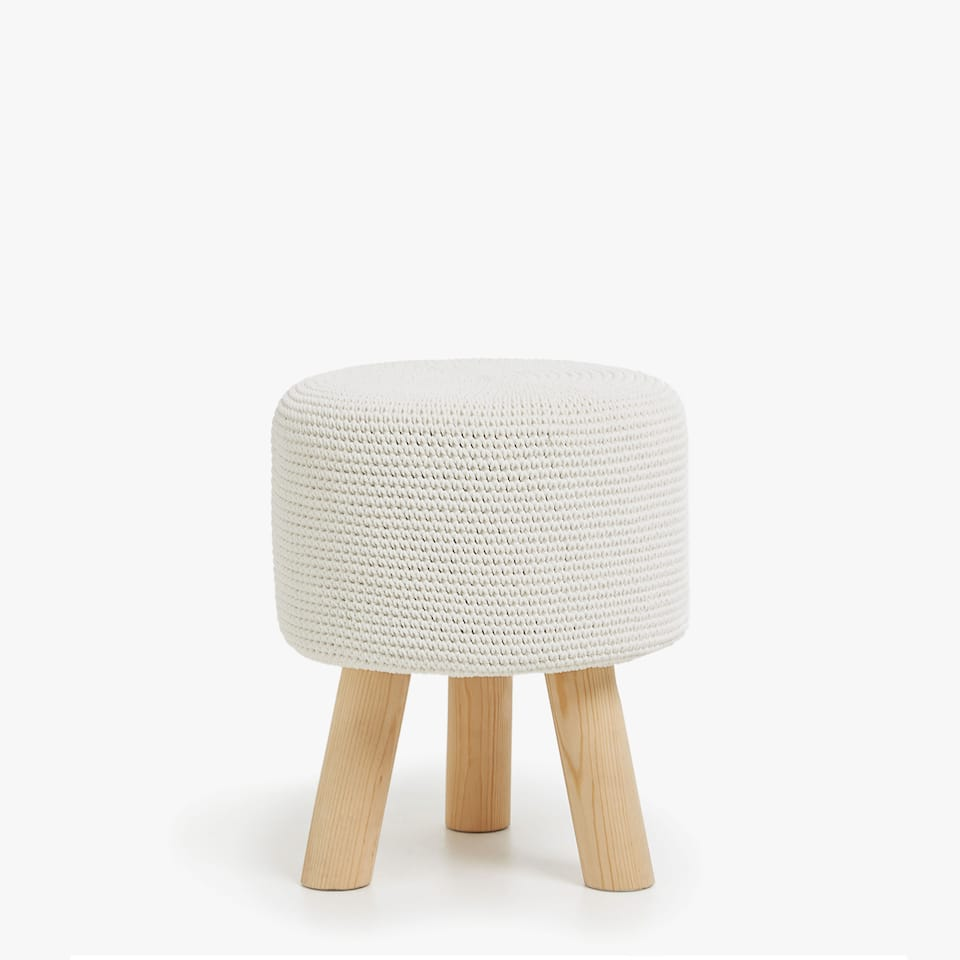 STOOL WITH CROCHET KNIT SEAT