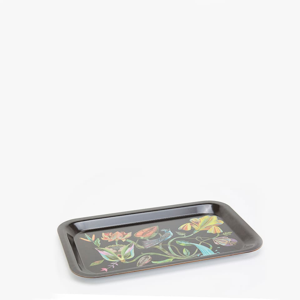 Floral print tray
