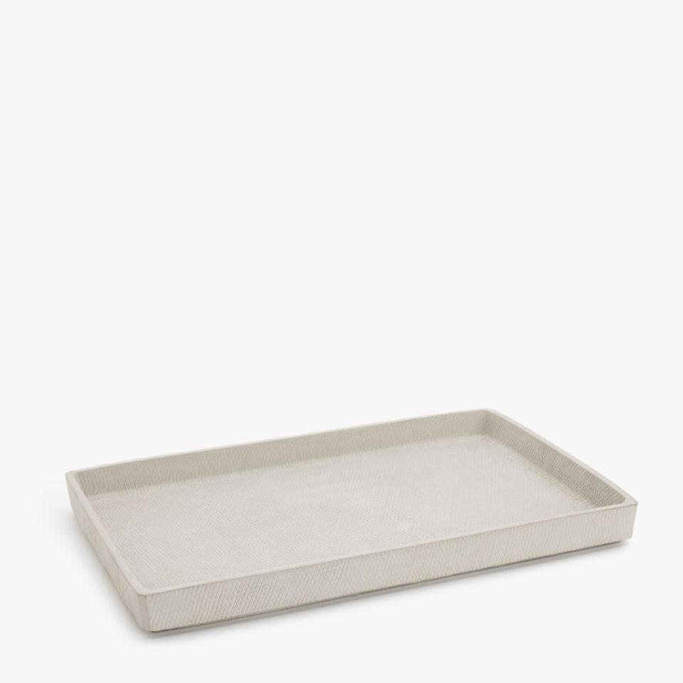 Square cement tray with a diamond design