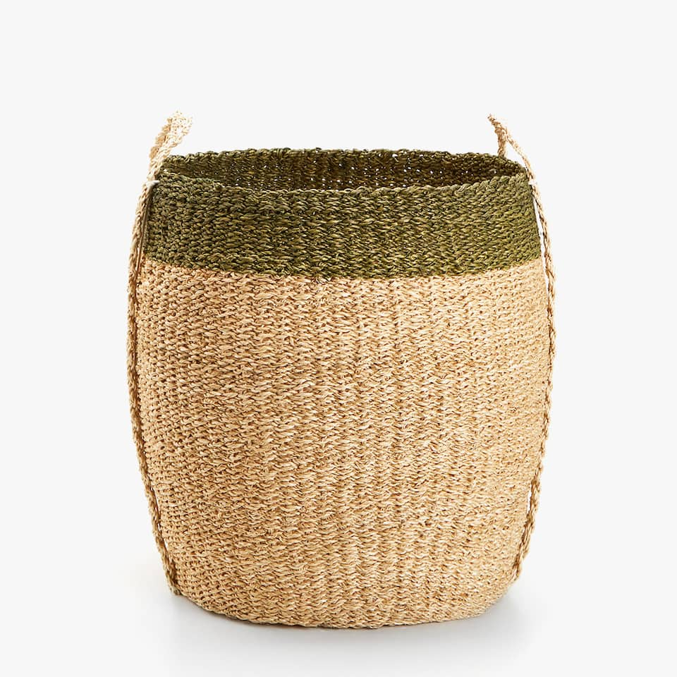 TWO-TONE BASKET WITH MAXI HANDLES