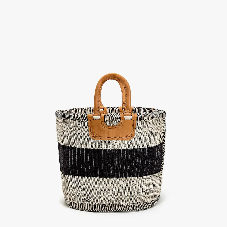 JUTE BASKET WITH LEATHER HANDLES