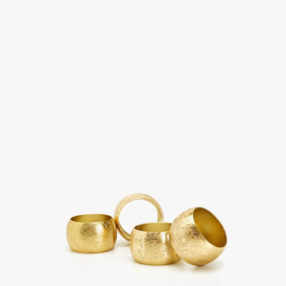 GOLD EMBOSSED NAPKIN RING (SET OF 4)