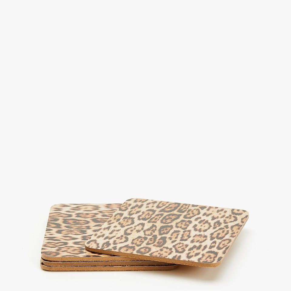 SQUARE LEOPARD PRINT COASTERS (SET OF 4)