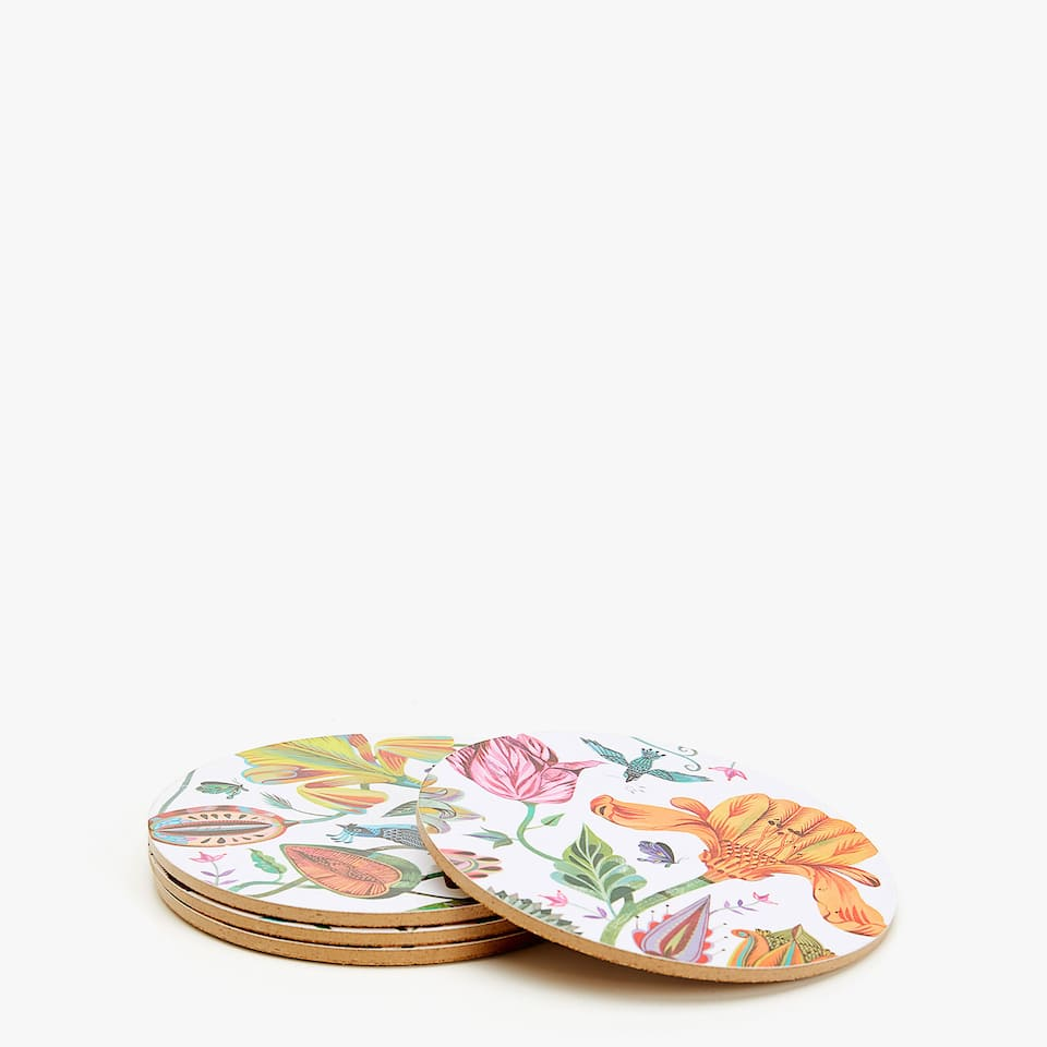 ROUND FLORAL PRINT COASTERS (SET OF 4)