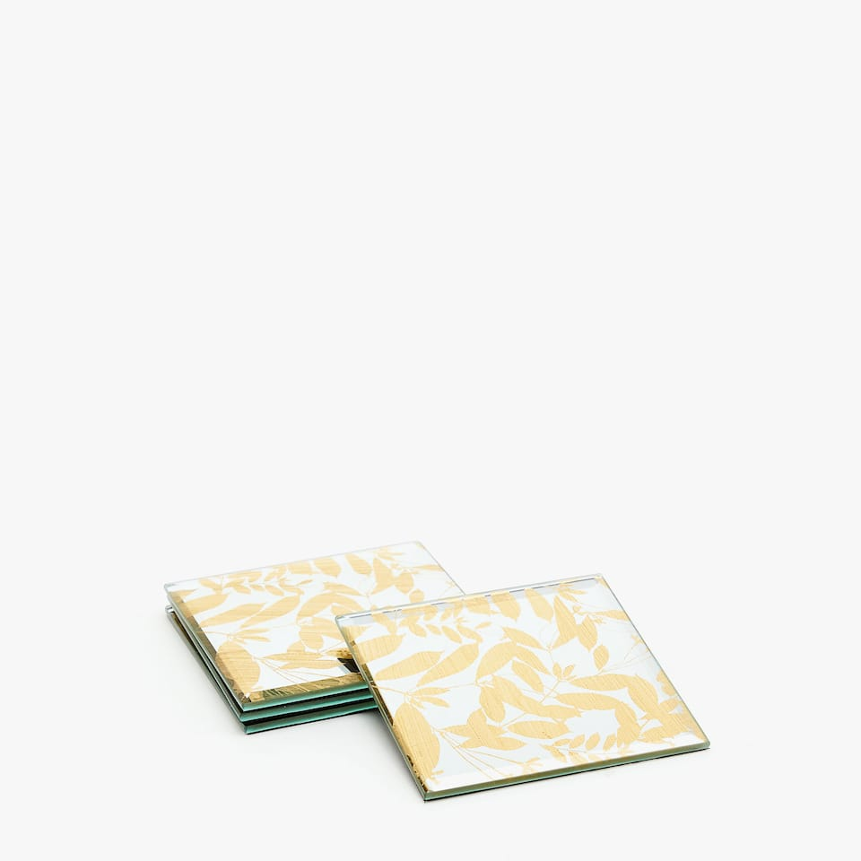 MIRRORED GOLD LEAF PRINT COASTERS (SET OF 4)