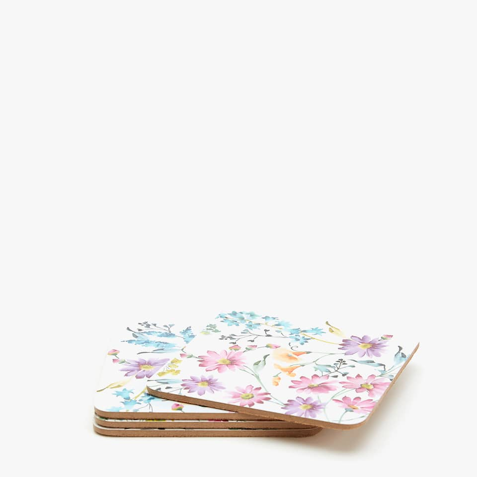 MULTICOLOURED FLORAL COASTERS (SET OF 4)