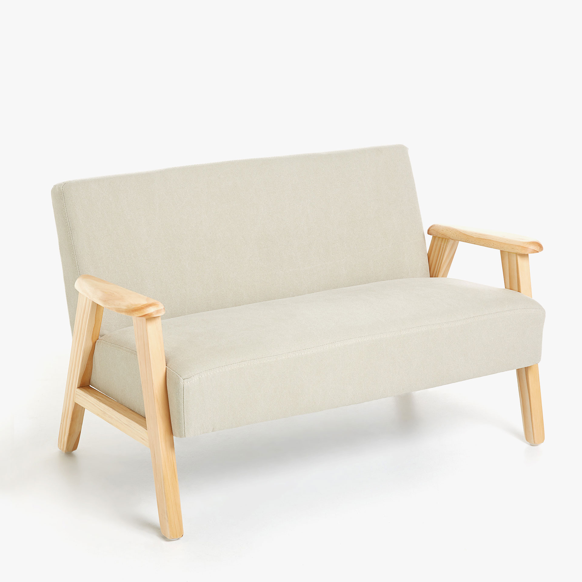 TWO-SEAT COUCH WITH WOODEN FRAME