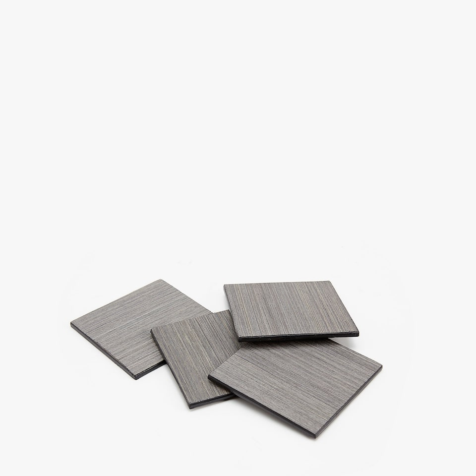 SQUARE GREY STREAKED COASTERS (SET OF 4)